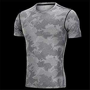 ZAGO Los Hombres de Gimnasia Top Ropa Interior de los Hombres Camisas de Manga Corta Suave estupenda Las Camisetas Estiramiento Chalecos Slim Fit para el Ejercicio (Color : Gray, Size : L)