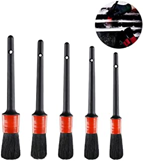 TEEPAO 6 Pcs Natural Boar Bristle Brush for Cleaning Engine/Wheel/Interior/Exterior/Emblems/Car Air Conditioner Auto Detailing Brush Set Car Motorcycle Stiff Cleaner Brush