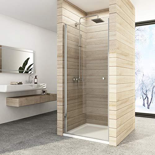 Duschdeluxe Duschtür Nischentür Dusche 90 x 185 cm Duschwand doppelseitiger Nano-Beschichtung Glas Duschtür Pendeltür Duschabtrennung