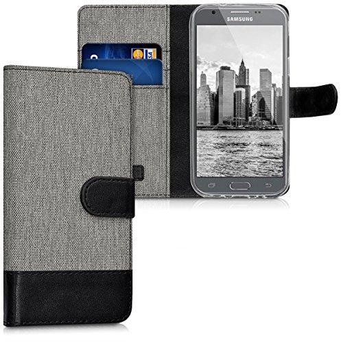 kwmobile Funda para Samsung Galaxy J3 (2017) DUOS - Carcasa de Tela y Cuero sintético - con Tapa y Tarjetero Gris/Negro