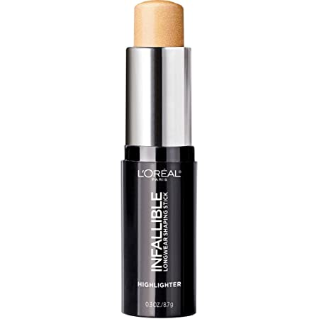 L'Oreal Paris Makeup Infallible Longwear Highlighter Shaping Stick, Up to 24hr Wear, Buildable Cream Highlighter Stick, 41 Gold is Cold, 0.3 oz.