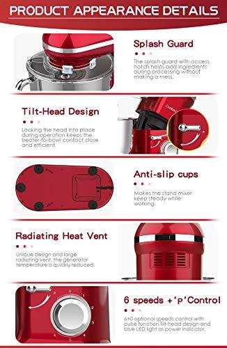 Cookmii Küchenmaschine 1090 Watt Knetmaschine Rührmaschine Teigmaschine Rührgerät, 5,5 Liter-Rührschüssel, 6-stufige Geschwindigkeit Rot - 6