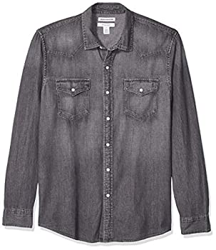 Amazon Essentials Men s Regular-Fit Long-Sleeve Denim Shirt Grey X-Large