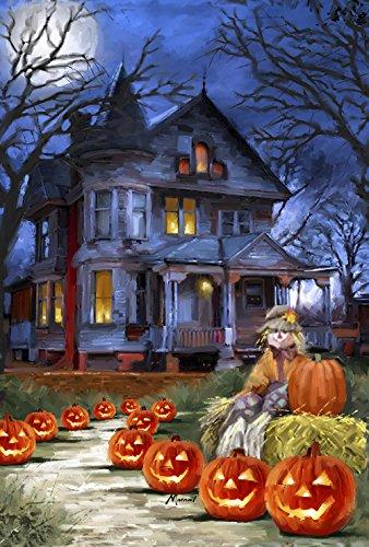 Toland Home Garden Gruseliges Manor 31,8 x 45,7 cm Deko Halloween Jack o Laterne Kürbis Garten Flagge