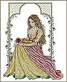 sdfpj Costura 1 1CT Punto de Cruz, Bricolaje Count Cross Stitch, Set de Bordados, Jardín Italiano Lady Bordado