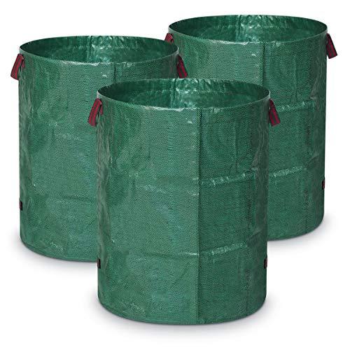 Navaris 3X Grünabfall Sack 272 Liter - 67x76cm - faltbar selbststehend - aus robustem Polypropylen Gewebe - XXL Gartensack Gartenabfallsack Laubsack