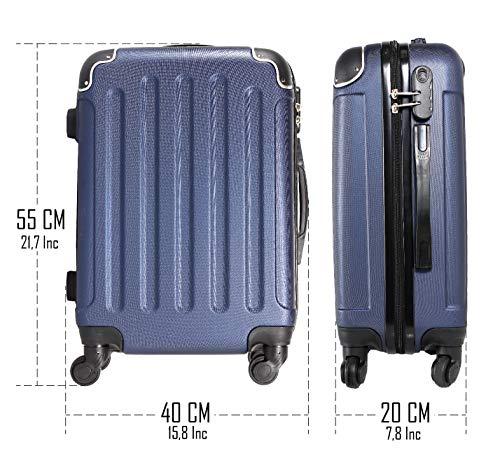 CABIN GO MAX 5571 Valigia Trolley rigido in ABS grande valigia con ruote, Idoneo Ryanair e Easyjet 55x40x20, Bagaglio a Mano Ultra Leggero in ABS con Chiusura TSA
