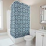Lind88 Boho Indigo Batik-Blumenmuster Graphic Style Duschvorhang Humor Waschbare Badvorhänge Set mit Ringen – romantisch für Wohnungsdekoration, weiß, 180x200cm