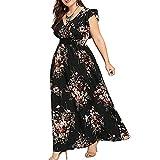 Vimoli Kleider Damen Plus Größe Sommer V-Ausschnitt Kleid Blumendruck Boho Sleeveless Party MaxiKleid (Schwarz,De-48/CN-4XL)