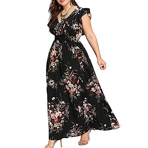 Vimoli Kleider Damen Plus Größe Sommer V-Ausschnitt Kleid Blumendruck Boho Sleeveless Party MaxiKleid (Schwarz,De-50/CN-5XL)