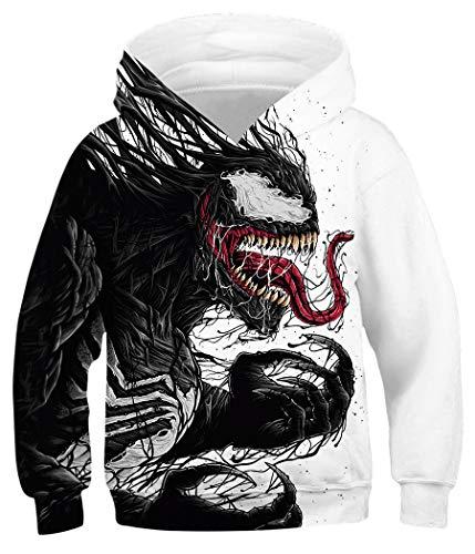 Amenxi Kinder Junge Mädchen Hoodies 3D Drucken lebendige Tier Cartoon Grafik Sweatshirt Tasche Pullover Hoodie für 4-16 Jahre (Venom, Höhe: 125-145 cm)
