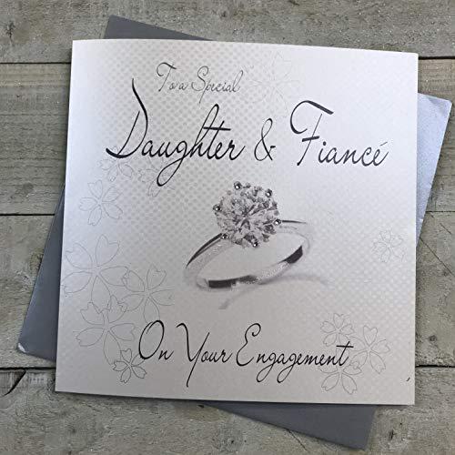 witte katoenen kaarten naar een speciale dochter & verloofde, handgemaakte verlovingskaart, code XLWB222
