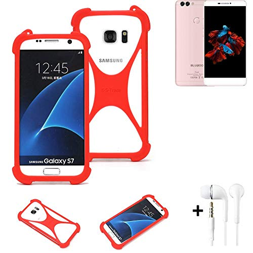 K-S-Trade® Handyhülle + Kopfhörer Für Bluboo Dual Schutzhülle Bumper Silikon Schutz Hülle Cover Case Silikoncase Silikonbumper TPU Softcase Smartphone, Rot (1x),