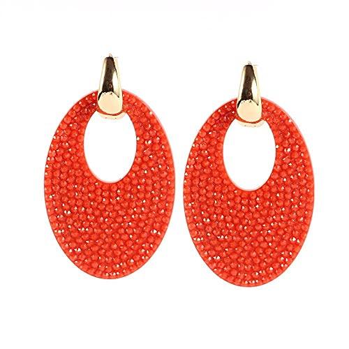 QWKLNRA Mujer Pendientes Pendientes De Color Rojo Coral, Grandes Pendientes Ovalados, Elegantes, Clásicos para Mujer, Resina De Cobre, Exquisitos Pendientes, Pendientes Llamativos, Regalo De Aniver