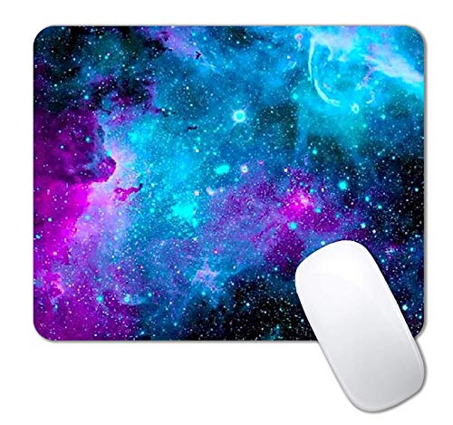 IMAYONDIA Mouse Pad, Blue Nebula Galaxy Mouse Pad, Custom Gaming Mouse Pads with Designs, Space Universe Mousepad, Portable Office Non-Slip Rubber Base Wireless Mouse Pad for Laptop Mat