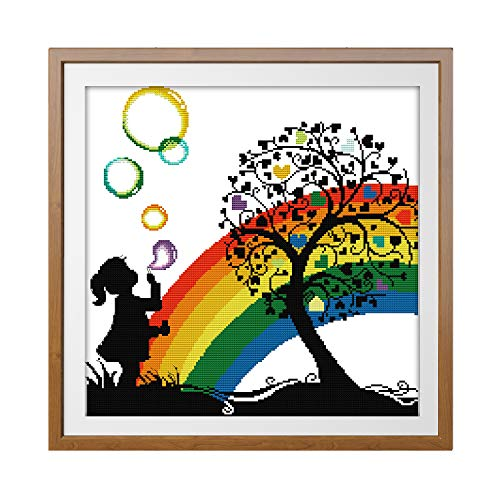 Printed Cross Stitch Kits 11CT 20X20 inch 100% Cotton Holiday Gift DIY Embroidery Starter Kits Easy Patterns Embroidery for Girls Crafts DMC Stamped Supplies Needlework Rainbow Bubble Girl