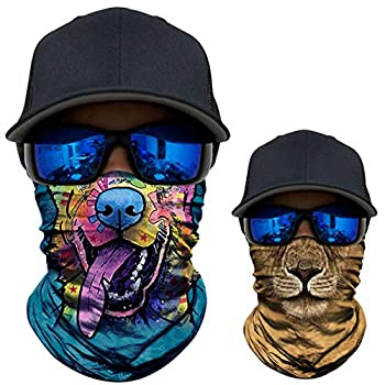 2 Pack - 3D Animal Neck Gaiter Scarf Bandana Face Mask Seamless UV Protection for Motorcycle Cycling Riding Running Fishing Hiking Conoeing Funny Dog and Lion