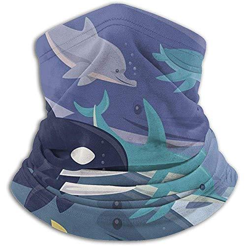 Randy-Shop Scaldacollo Animali di Mare Blu -Headwear Fasce Larghe Sciarpa Testa Avvolgere Maschera, Fascia ghetta Collo, Uomo Donna