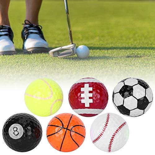 Keenso Bolas de Regalo de Golf Divertidas y portátiles de 6 Piezas, Accesorio de Bolas de Regalo para Practicar Deportes para Uso en competiciones