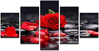 qingyuge 5 Panels Canvas Wall Art Canvas Paintings Home Decor Living Room Wall Art 5 Pieces Red Rose Flowers Pictures Modular Prints Stone Petal Poster Framed