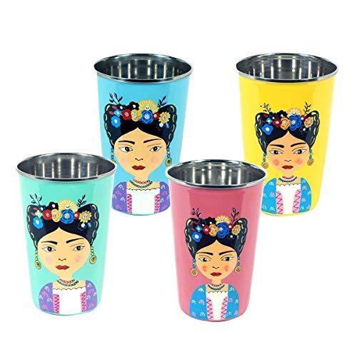 Decor And Go Vaso De Frida Acero Inoxidable Incluye 4 Unidades Cocina Mugs Y Vasos Colección India