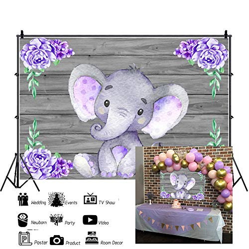 Laeacco Cute Purple Elephant Backdrops 7x5ft Polyester Photography Background Wooden Texture Wall with Purple Flowers Baby Shower Girls Baby Birthday Party Decoration Backdrops