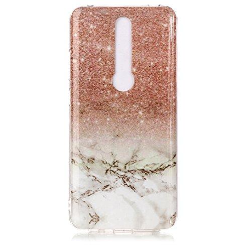 Pheant Schutzhülle für Nokia 7.1 Hülle Handyhülle mit Marmor Muster Silikon Schale Transparent Stoßfänger Bumper Handy Tasche