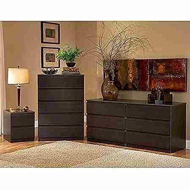 Laguna Double Dresser, 5-drawer Chest and Nightstand Set, Espresso
