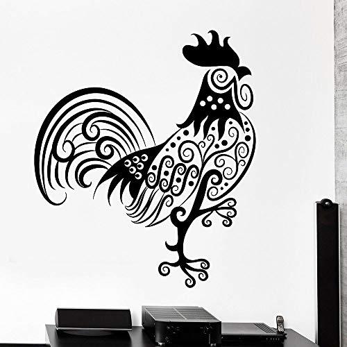 sanzangtang Hahn Muster Wandaufkleber Tierzubehör Tribal Vinyl Aufkleber Home Interior Dekoration Wohnzimmer Küche Aufkleber 63x72cm
