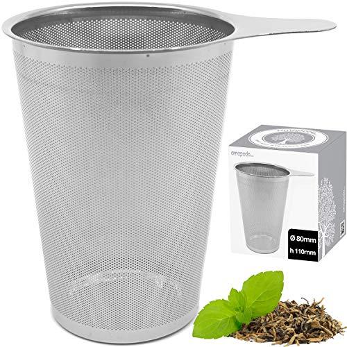 amapodo Teefilter für losen Tee plastikfrei Edelstahl Siebeinsatz groß & fein Dauerfilter mit Griff für Teekanne, Teesieb für Tasse