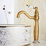 Grifo de Baño para Lavabo Vintage Grifos Rusticos Mezclador Grifería Baño Monomando Todo Bronce en Latón con Agua Fría y Caliente para Baño (#A)