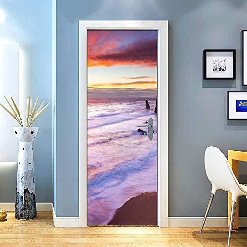 KEXIU 3D Playa rosa PVC fotografía adhesivo vinilo puerta pegatina cocina baño decoración mural 77x200cm