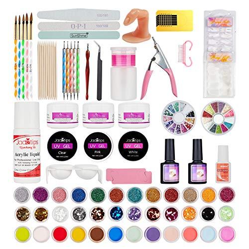 Acrylic Nail Kit, Nail Kit with False Nail, Acrylic Powder, Nail Tips Gel, Nail Brush, Acrylic Nail Kit for Nails Artist and Beginners