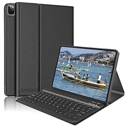 SENGBIRCH Teclado funda para iPad Pro 11 pulgadas 2020/2018, Bluetooth inalámbrico italiano portátil teclado con Slim Smart Case Cover magnética para iPad Pro 11 2020/2018, negro