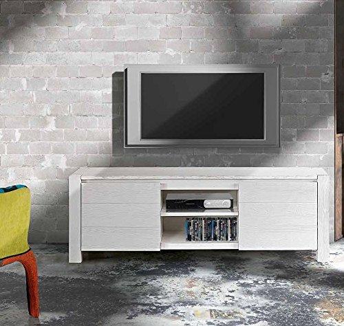 InHouse srls Meuble TV en Sapin Blanc brossé, Style Moderne, en MDF laminé - Dim. 165 x 45 x 55