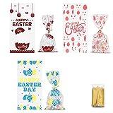 Bolsa de regalo del día de Pascua, bolsa de dulces, bolsa de galletas, 150 bolsas de regalo con 100 cables de sujeción, bolsas dulces para envolver regalos, fiesta infantil, fiesta del día de Pascua