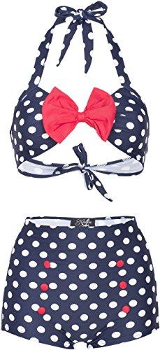 Küstenluder Damen Bikini Set Madie Punkte Bademode Blau 2XL
