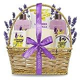 Spa-Kit für Frauen, Body&Earth 7 Pcs Badeset mit Lavendel & Vanille Duft, Enthält Duschgel,...