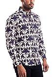 Camisa de manga larga para hombre BİBLOS UOMO de corte ajustado, fácil de planchar, tallas de la UE de la S a la 3XL, impresión digital de alta calidad Varios colores y patrones en blanco. XXXL
