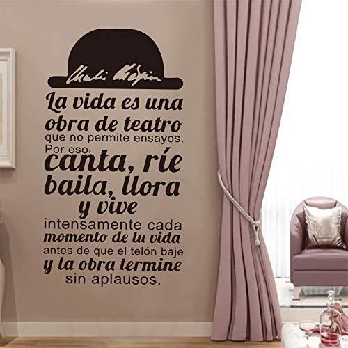 Cita En Español La Vida Es Una Obra De Teatro Vinilo Adhesivo Apliques Mural Sala De Estar Decoración Del Hogar Decoración De La Casa 55 * 110 Cm