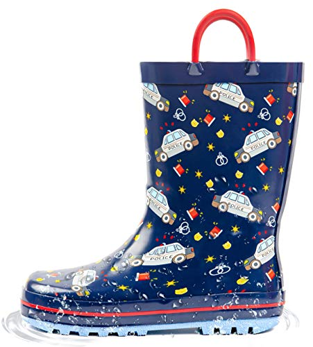 Puddle Play Toddler and Kids Rain Boots with Easy On Handles - Boys and Girls Colors and Designs (11 M US Little Kid, Emergency Rescue)
