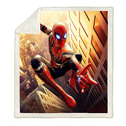 BLSM Marvel Spiderman City Sherpa Manta para niños, diseño de dibujos animados de superhéroe, manta de forro polar súper suave, ropa de cama para niños (150 x 200)