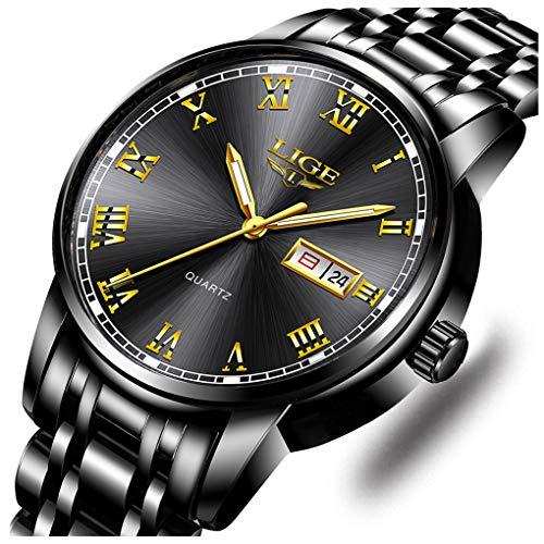 LIGE Herren-Armbanduhr, Edelstahl, wasserdicht, analog, Quarzuhr, Business-Kleid watch black gold