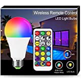 1er 16W Farbwechsel-Glühbirne, Techgomade A65 E27 Warmweiß+Kaltweiß RGB-Glühlampen, 100W-Äquivalent, 1400LM, Dual Memory, LED-Fernbedienung für Wohnkultur, Stimmungsbeleuchtung, Party