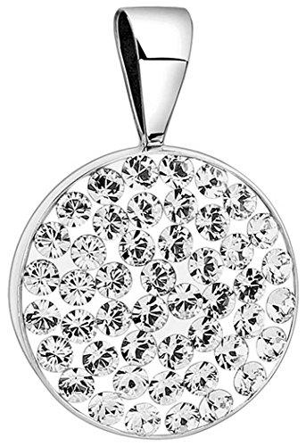 Nenalina Kreis Anhänger für Damen Kette oder Halskette mit Swarovski in 925 Sterling Silber 264056-091