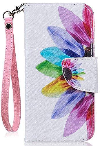 JanCalm - Funda Tipo Cartera para iPhone 7 (Ranuras para Tarjetas, Correa para la muñeca), diseño Doble, Piel sintética