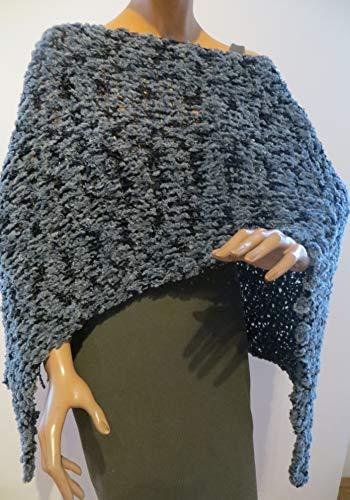 Damen Poncho, grau-schwarz meliert, kann man auch unter einem Mantel tragen