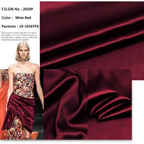 100% 16mm Wine Red Silk Charmeuse Fabric by The Yard, 48 Colors, Wine Red SZD1630, F.D.SILK
