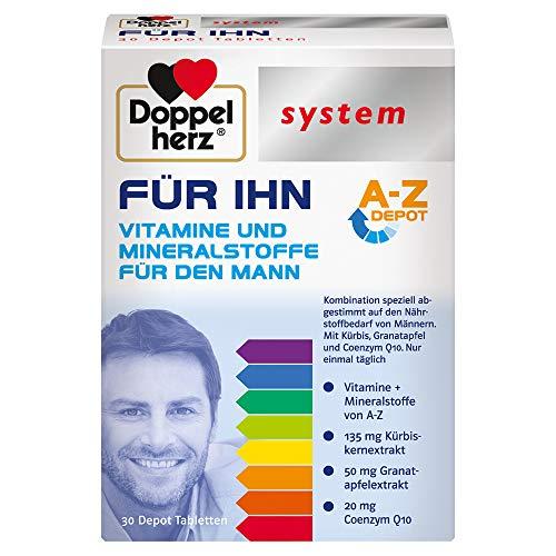 Doppelherz system FÜR IHN – Vitamine, Mineralstoffe und Spurenelemente – abgestimmt auf den Nährstoffbedarf des Mannes – 30 Tabletten