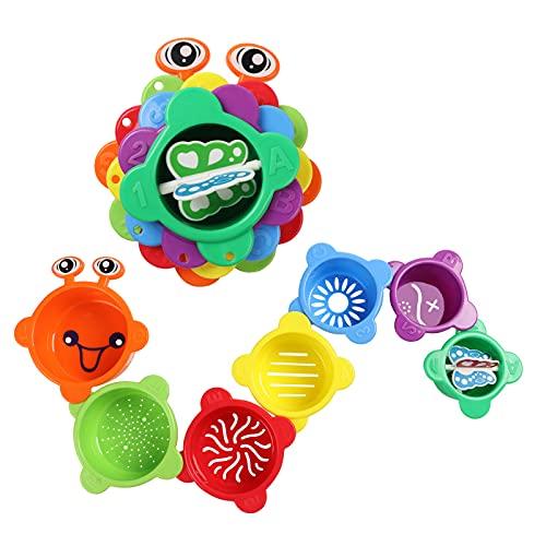 Amazon Brand - Eono Cubos Apilables Bebe, 7 Piezas de Tazas para Apilar, Juego Montesorri para Niños, Juguetes de Bañera y Playa